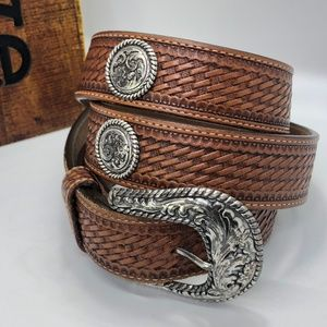 Justin Tan Embossed Leather Bronco Western Belt~46